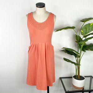 Lucy Womens Woven Detail Tank Dress Medium Coral